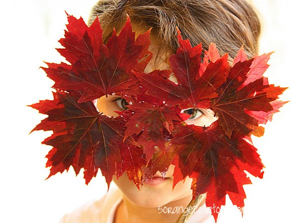 leaf glued mask for kids