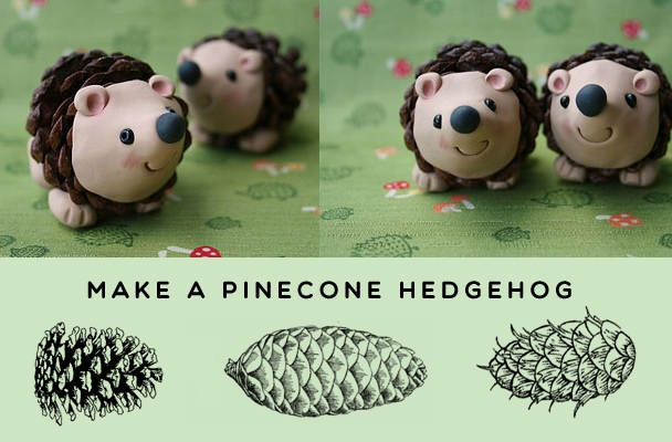 make a pine cone hedgehog