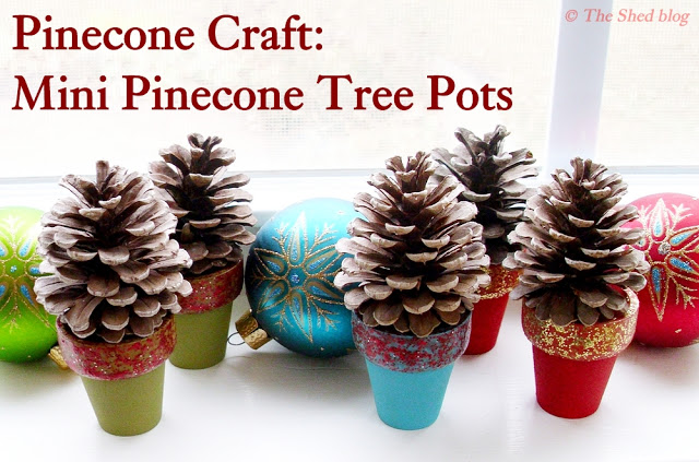 pinecone craft tree pots