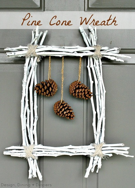 Fall pine cone wreath
