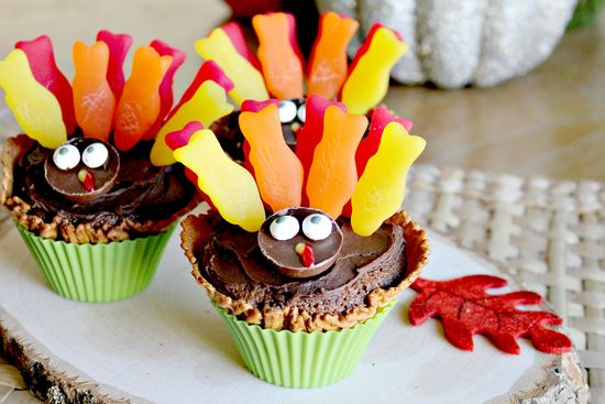 thanksgiving kids turkey cupcakes