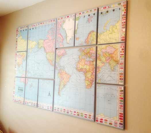nail world map wall art canvas world map