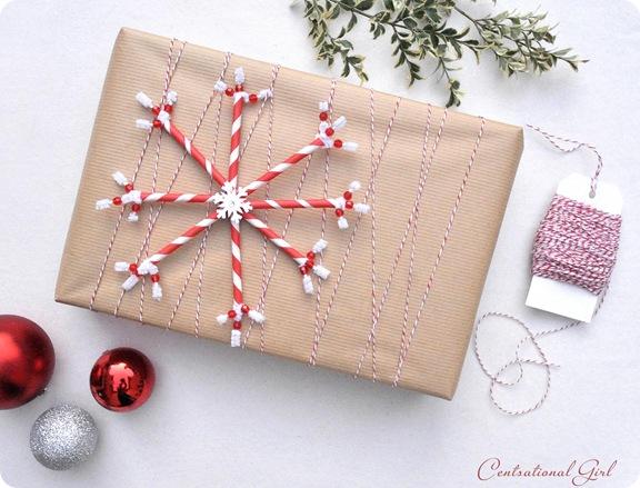 DIY snowflake gift wrap