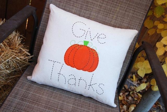 painted pumpkin pillow