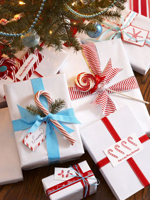 gifts wrapped colored ribbon