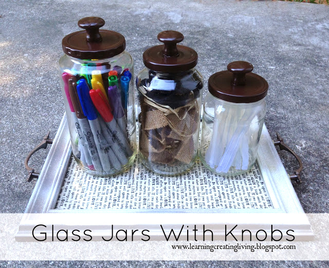 glass jars with knobs