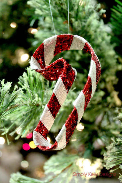 glitter candy cane ornaments