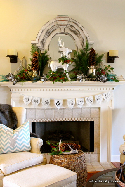 joy peace Christmas mantel