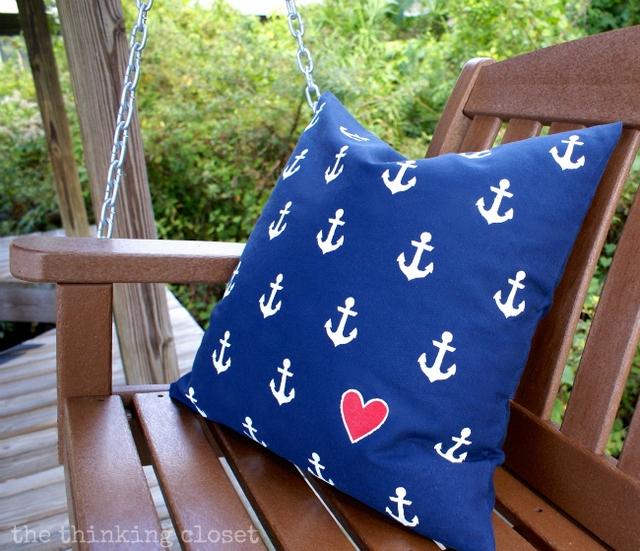 nautical heart pillow