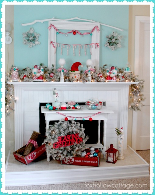 pink blue Christmas Mantel