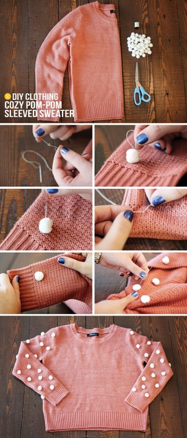 pompom sweater tutorial