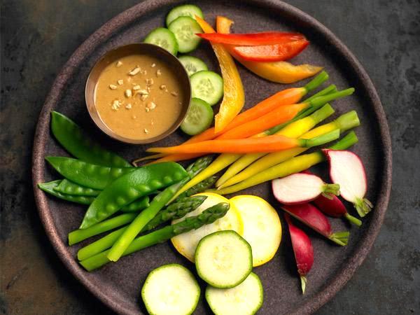 veggies peanut butter dip