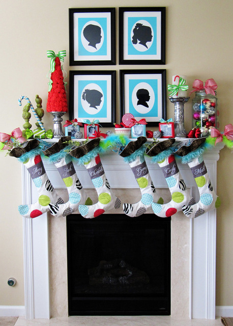 whimsical Christmas mantel