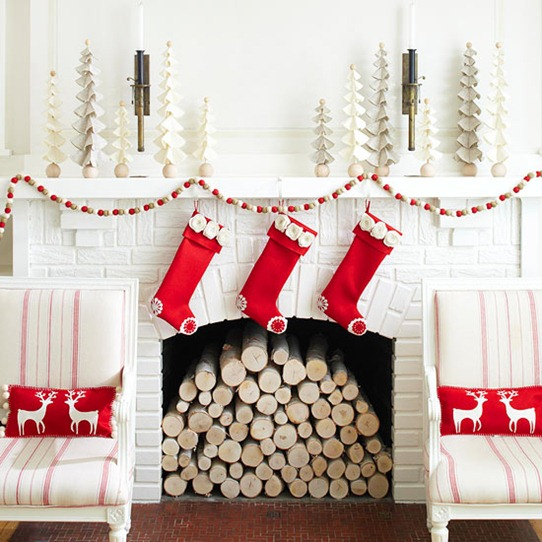 white and red mantel