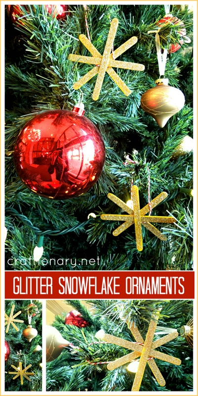 DIY glitter snowflakes tree ornaments