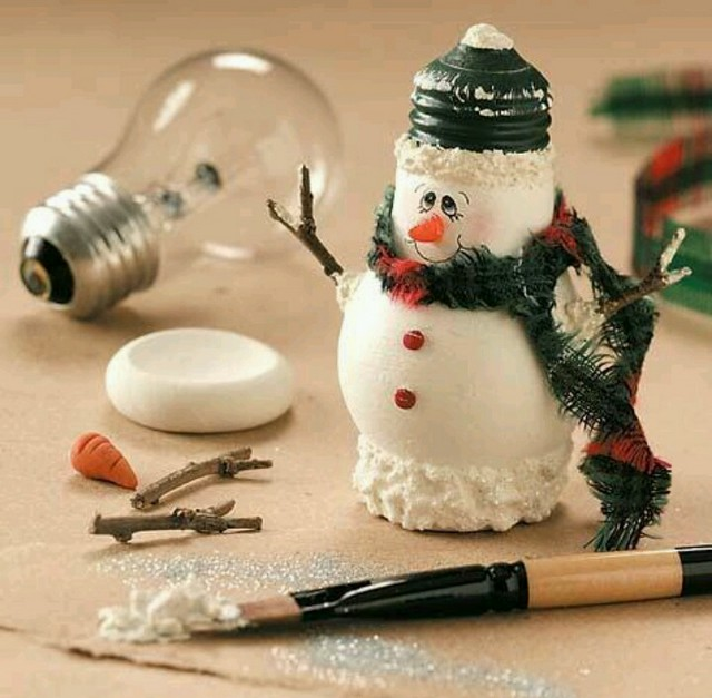Recycle fused bulb into adorable snowman like this one