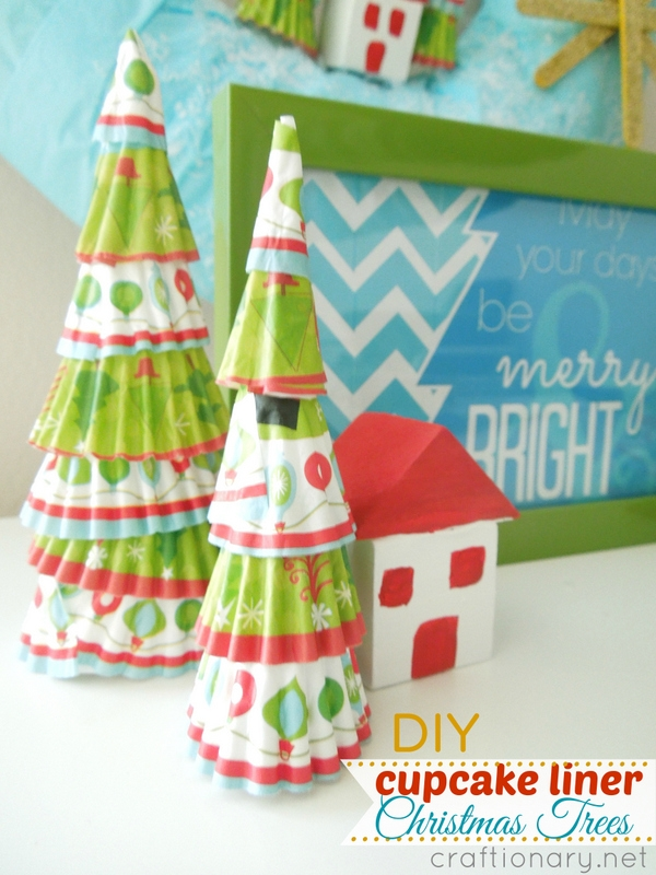 cupcake liner cute Christmas trees DIY