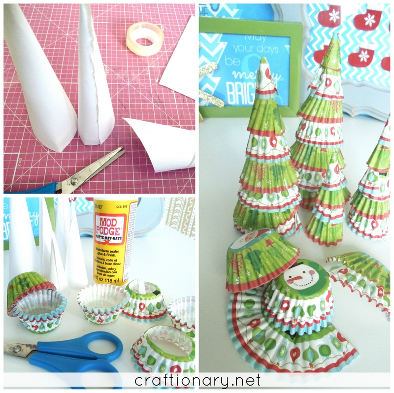 cupcake liner cute Christmas trees tutorial