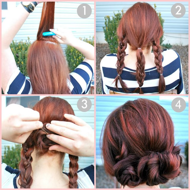 easy hairstyle braided hair updo