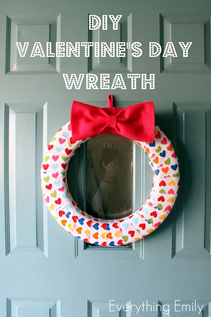 hearts polka dot fabric wreath