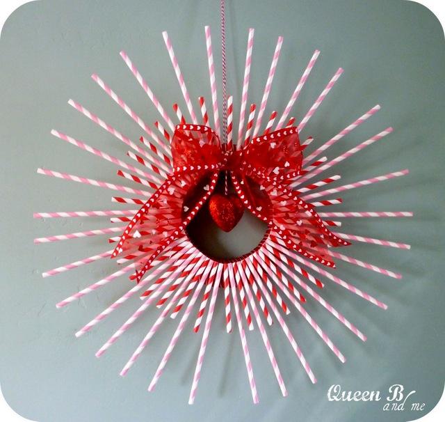 valentines day wreaths paper straw wreath