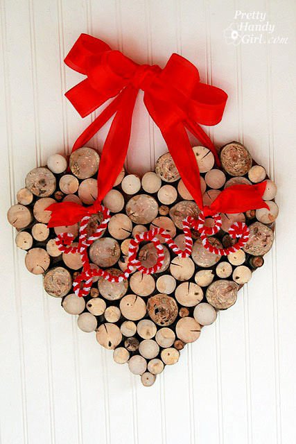 wooden love heart wreath