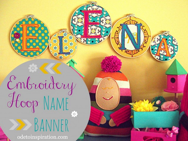 embroidery hoop name banner