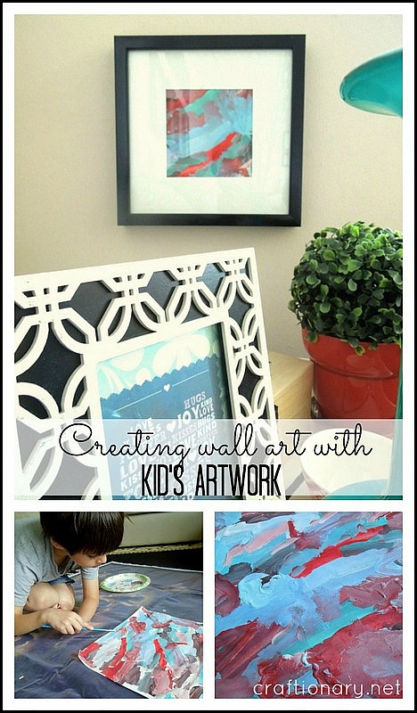 creating wall art with kids artwork