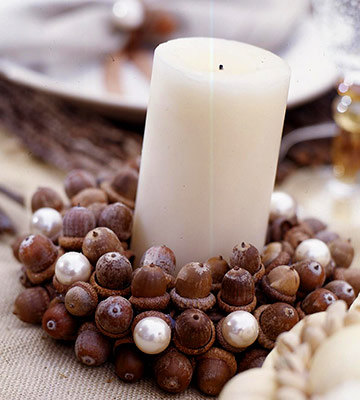 DIY acorn candle holder