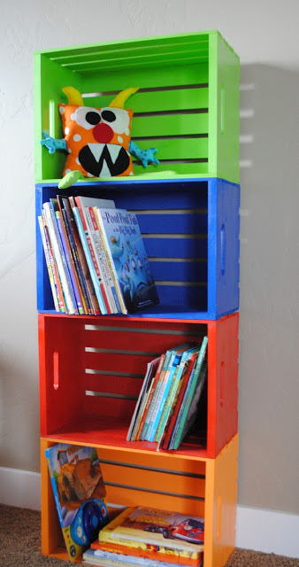 DIY crate books organizer