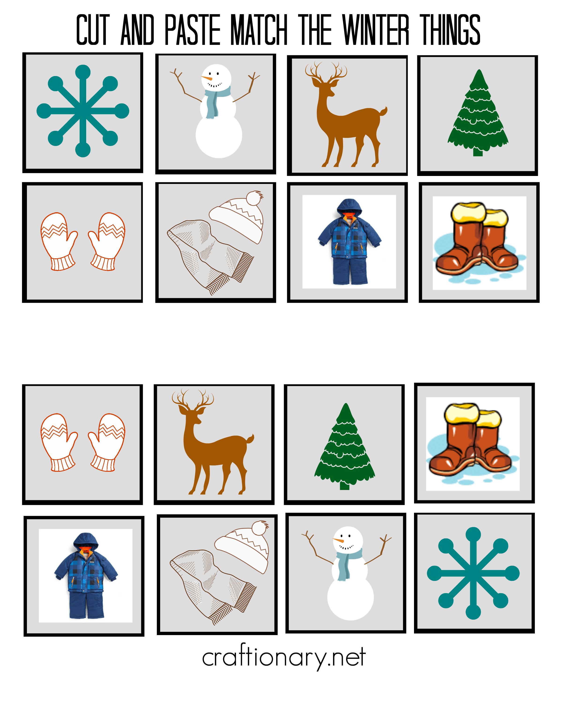 Free winter matching printable