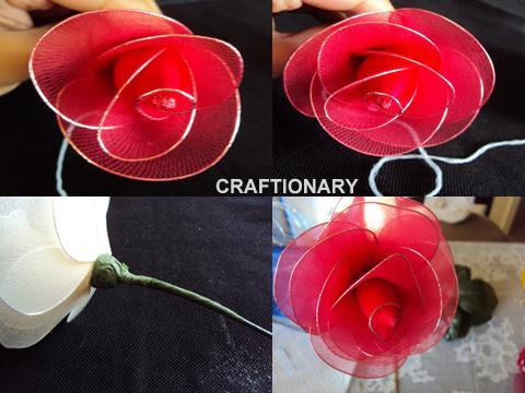 nylon rose stocking net flower craft tutorial
