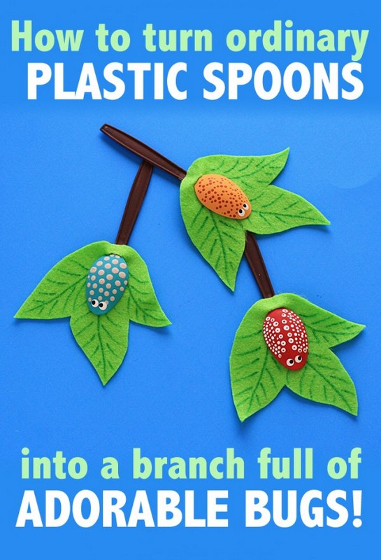 plastic spoon bugs on a branch kids craft