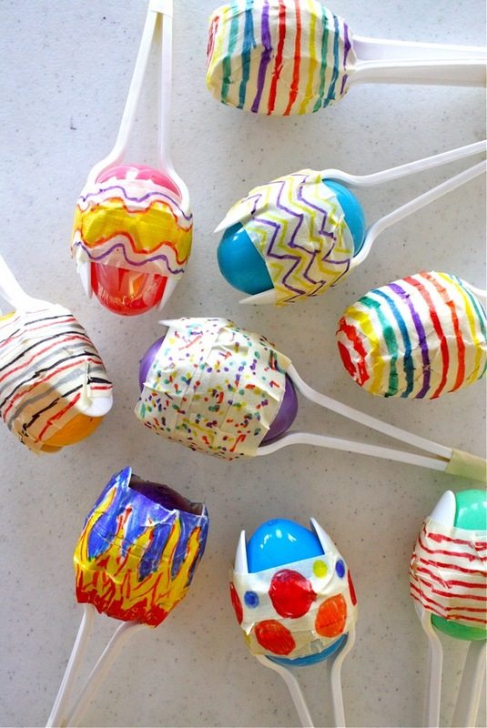 plastic spoons maracas kids craft
