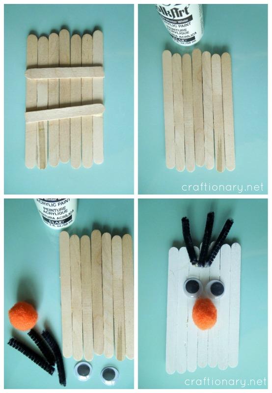 Simple popsicle sticks olaf snowman frozen tutorial