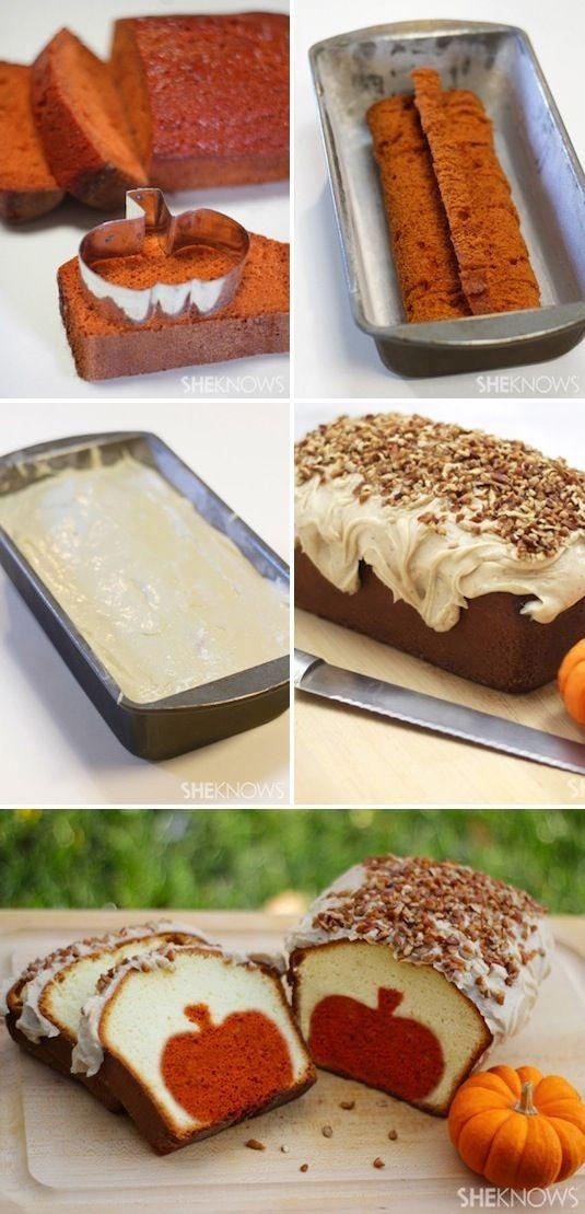 Peekaboo pumpkin pound cake with brown butter pecan icing. A surprise ...