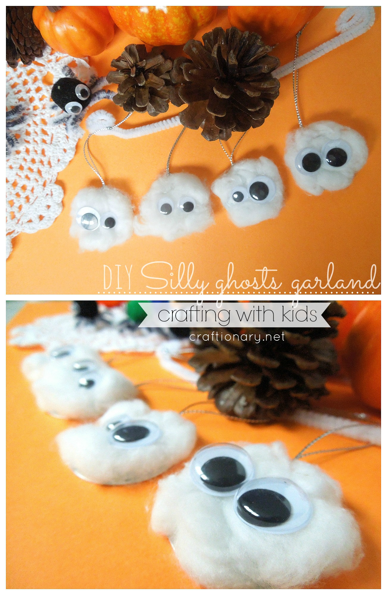 crafting silly ghosts garland