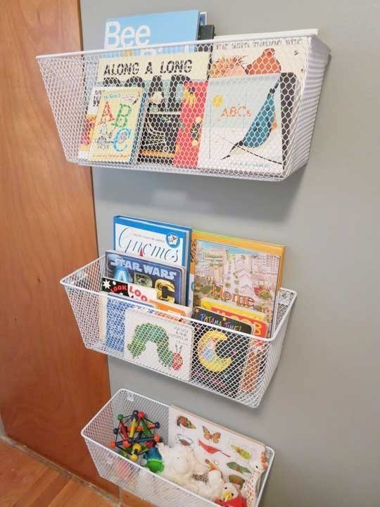 Wire Baskets Books Storage
