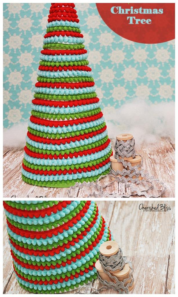 Pom pom Christmas tree - craftionary.net