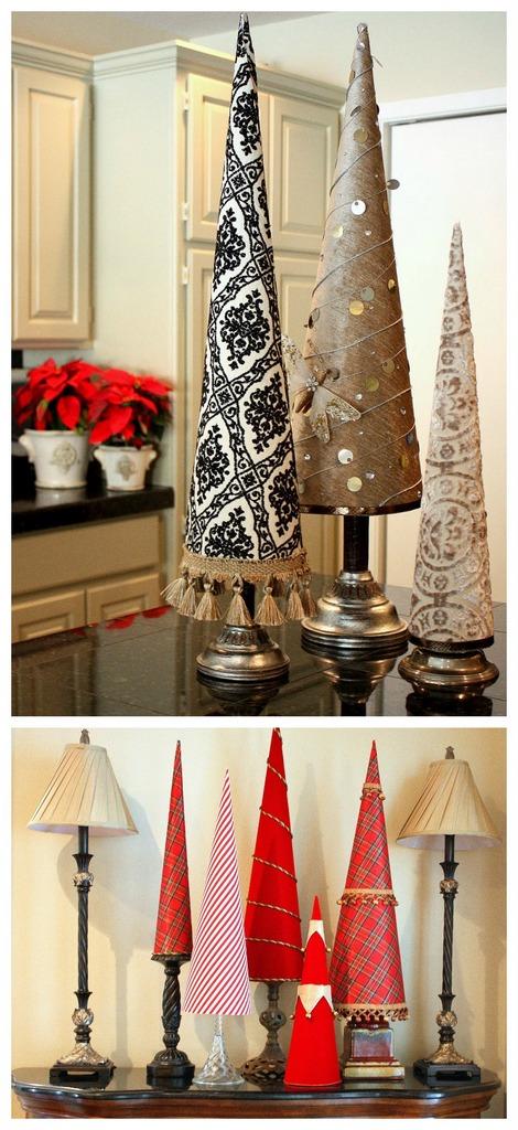 Fabric cone Christmas trees - craftionary.net