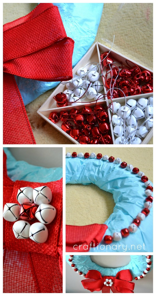 DIY Jingle bells wreath tutorial at craftionary.net
