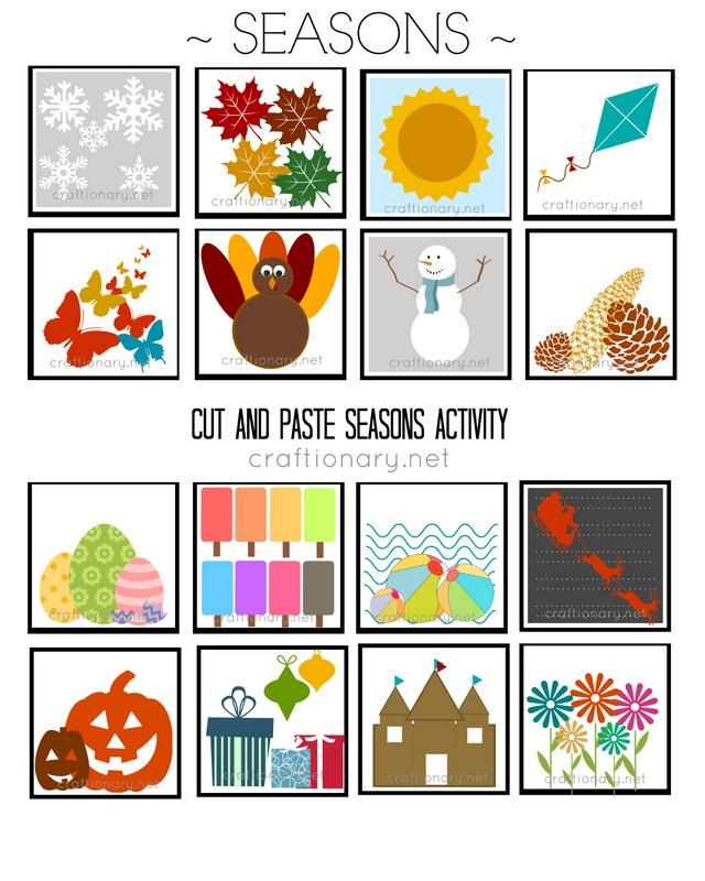 seasons matching free printable