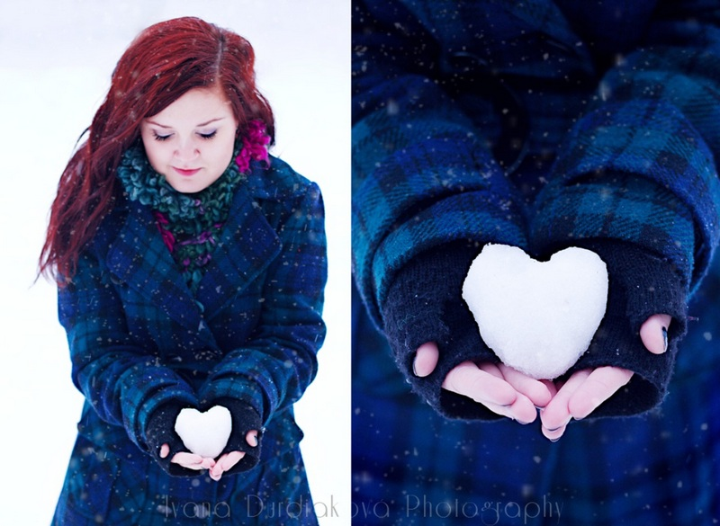 Snow Heart Photo Idea For Family And Kids