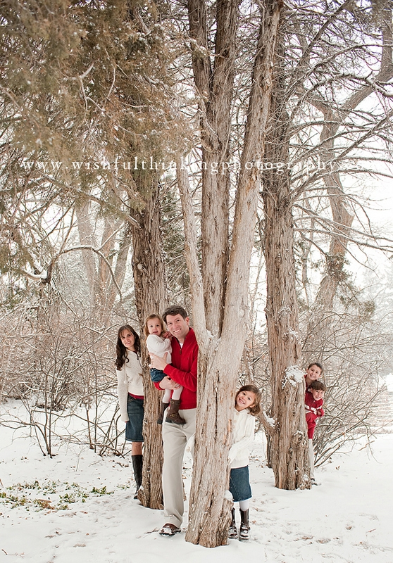 snow tree peekaboo family photo