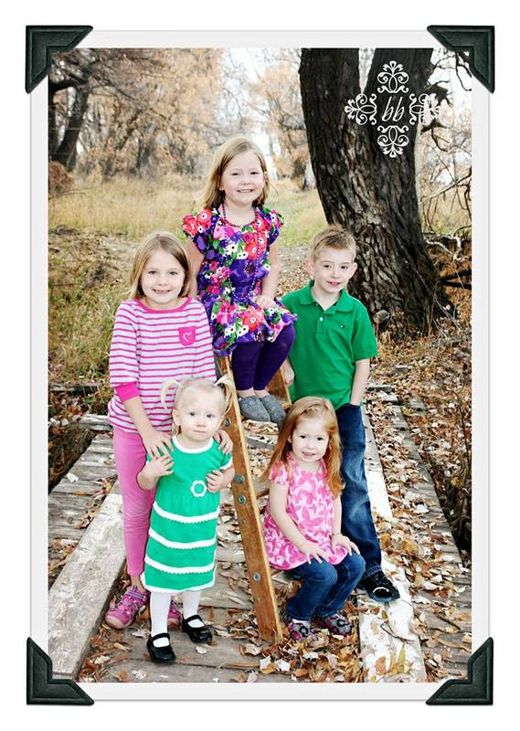 Kids fall photo with ladder used as prop
