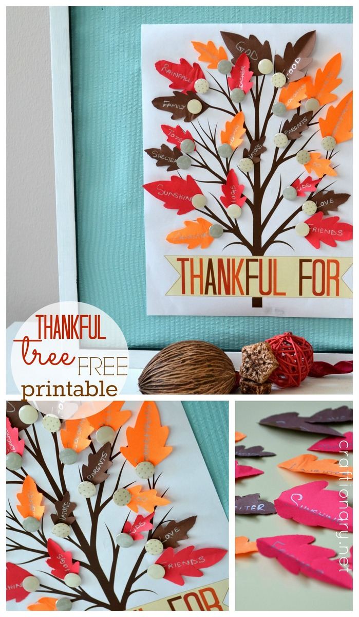Clean image with thankful tree printable