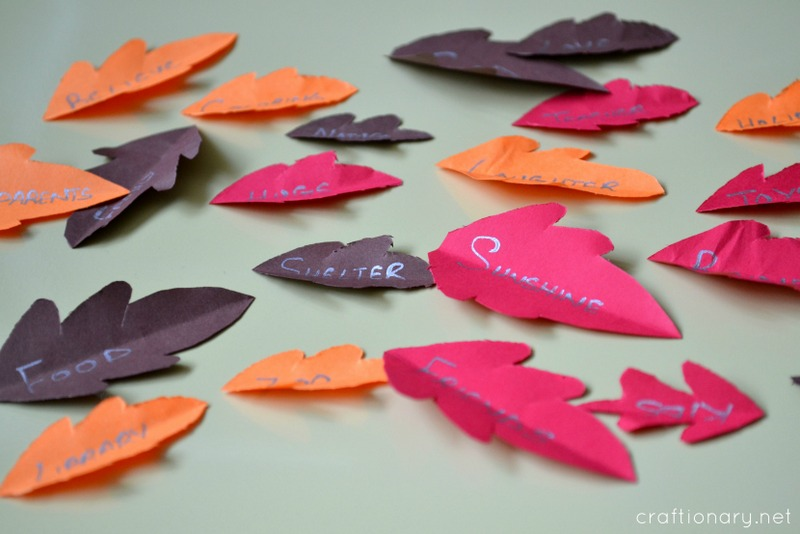 give thanks paper leaves thanksgiving