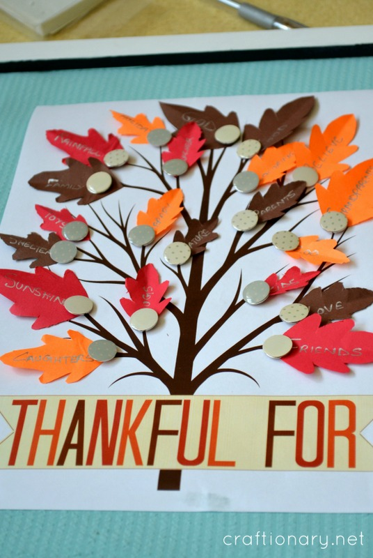 photograph regarding Thankful Tree Printable called Craftionary