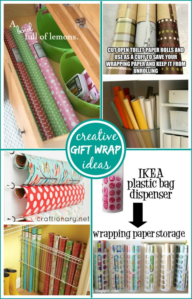 Organization ideas for gift wrap at craftionary.net