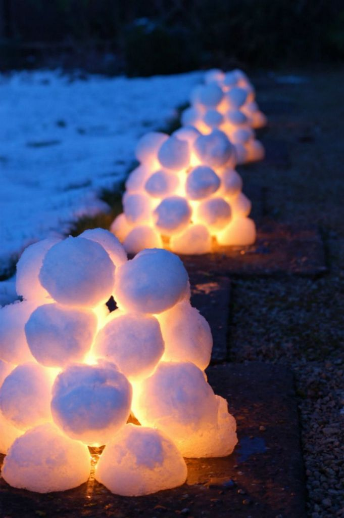 DIY outdoor lights using snow balls